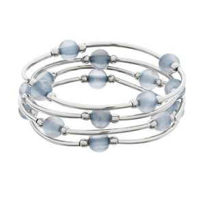 Color Blue Beaded Stretch Bracelet Set
